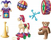 stock photo of teddy-bear  - A grouping of vintage toys - JPG