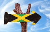 picture of jamaican flag  - Jamaica Flag sign with sky background  - JPG