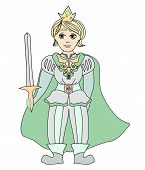stock photo of prince charming  - Funny cartoon prince on white background  - JPG