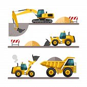 image of excavator  - Set of building machines - JPG