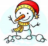 stock photo of snowman  - Cartoon snowman in a Santa hat - JPG