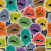 stock photo of microbes  - Seamless pattern with little angry viruses - JPG