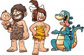 picture of caveman  - Family of cavemen - JPG