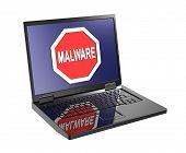 picture of malware  - Malware warning sign on laptop screen - JPG