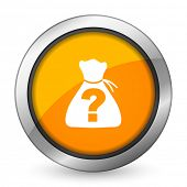 stock photo of riddles  - riddle orange icon   - JPG