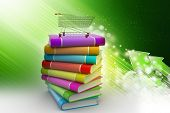 stock photo of hand truck  - hand truck with books in attractive color background - JPG