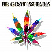 stock photo of marijuana leaf  - Illustration of colorful marijuana leaf on a white background - JPG