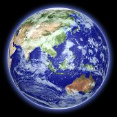 stock photo of earth  - Earth globe cloud map on a black background - JPG