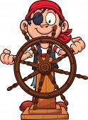 picture of rudder  - Pirate boy at the rudder - JPG