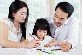 Постер, плакат: Child Studying With Parents In Home