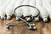 picture of shuttlecock  - Stethoscope and used shuttlecock arrange in a row Studio Shot - JPG