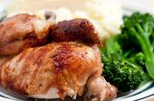 stock photo of roast chicken  - roasted half chicken dinner with mashed potaoes and gravy - JPG