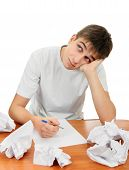 picture of compose  - Teenager composes a Letter on the White Background - JPG