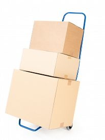 stock photo of hand-barrow  - Pile of cardboard parcels loaded on hand truck on white background - JPG