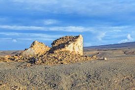 picture of papagayo  - coastline in Lanzarote in Playa Blanca at the famous Playa de Papagayos with destroyed old fishermens hut - JPG