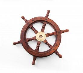picture of steers  - Old boat steering wheel isolated on the white background - JPG