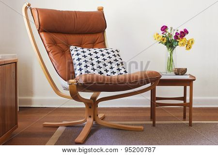 Retro Tan Leather Chair And Side Table Interior