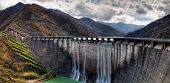 image of dam  - dam with overflow with high jump of water - JPG