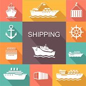 stock photo of transportation icons  - Set of transportation and shipping colored icons - JPG