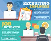 Постер, плакат: Recruiting employees job interview flat illustration concepts set