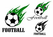 pic of flame  - Flaming football or soccer ball emblem design with green and black flames in tribal style - JPG