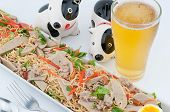 stock photo of glass noodles  - Spicy noodles with beer On a white background - JPG
