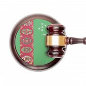 picture of turkmenistan  - Wooden judge gavel with national flag on sound block series  - JPG