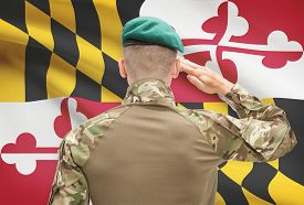 picture of maryland  - Soldier saluting to US state flag series  - JPG