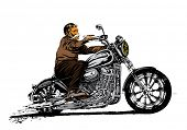 Old man riding a motorcycle