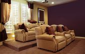 stock photo of home theater  - Luxury home movie theater viewing room - JPG