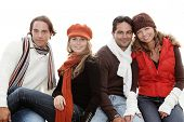 stock photo of foursome  - happy foursome group of people - JPG