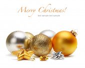 stock photo of merry christmas text  - card with Christmas balls isolated - JPG