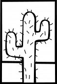pic of semi-arid  - lonely cactus in the desert - JPG
