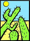 image of semi-arid  - three cactus in the desert - JPG