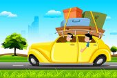image of family vacations  - illustration of family in car loaded with luggage going for trip - JPG
