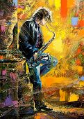 The young guy playing a saxophone