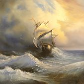 image of sailing vessels  - Ancient sailing vessel in stormy sea - JPG