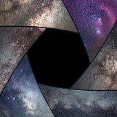 Astrophotography Collage. Shutter Collage Universe. Space Astronomy .long Exposure Photography. poster