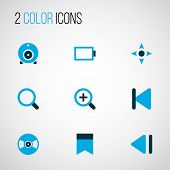 Music Icons Colored Set With Slow Backward, Controller, Bookmark And Other Previous Elements. Isolat poster