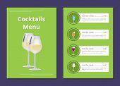 Choose Refreshing Alcohol Beverage, Bar Card Beverages Choice Vector Poster. Cocktails Menu Cover De poster