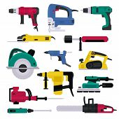 Power Tools Vector Electrical Drill And Electric Construction Equipment Power-planer Grinder And Cir poster