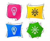 Light Lamp Icons. Lamp Bulb With Cogwheel Gear Symbols. Idea And Success Sign. Geometric Colorful Ta poster