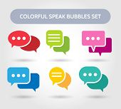 Colorful Speech Bubble Signs. Vector Color Bubbles Shapes For Chatting Or Chat Conversation poster
