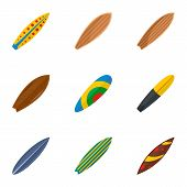 Surf Board Icon Set. Flat Set Of 9 Surf Board Vector Icons For Web Design poster