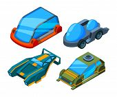 Futuristic Isometric Cars. Vector 3d Low Poly Futuristic Automobiles. Car Automobile Electric, Futur poster