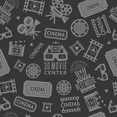Cinema Pattern. Seamless Background With Symbols Of Cinema And Films Production. Vector Cinema Produ poster