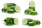 Collection Cucumber With Smooth Skin, Isolated On White Background. Half Of Cucumber And Slices. poster