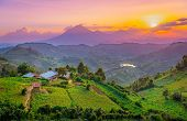Kisoro Uganda Beautiful Sunset Over Mountains And Hills Of Pastures And Farms In Villages Of Uganda. poster