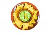 Traditional Mexican Guacamole Sauce Made From Avocado And Lime Chips Nachos On A White Background. G poster