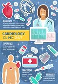 Cardiology Clinic And Everyday Service. Vector Cardiologist Doctor With Heart Pulse On Cardiogram, C poster